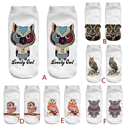 Chaussettes 2 Paire Chic En Owl Pour Socks Adeshop Imprimées Courtes Pattern 1 3d Multicolore Élasticité Respirant Animaux af5TnpqwEn