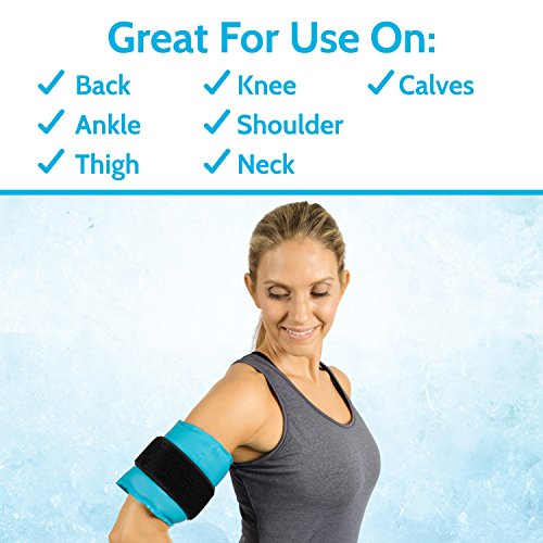 Arctic Flex Hot Cold Therapy Wrap - Reusable Gel Ice and Heat Compress Pack with Strap for Muscle, Injuries, Back, Neck Aches, Knee, Ankle, Calves, Elbow Pain Relief - Microwaveable Blue Pad, Flexible by Arctic Flex (Image #1)