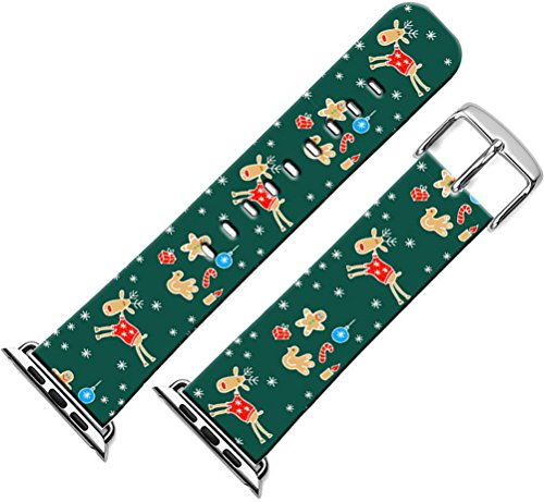 Band Replacement for Iwatch 44mm/42mm & Cisland Leather Strap Compatible for Apple Watch Series 1/2/3/4 Sport & Edition for Women + Christmas Printing Theme Design Reindeer Cute Green