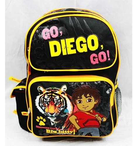 "Go Diego Go 14"" Medium Sized School Backpack ""Siberian Tiger Big Kitty"""