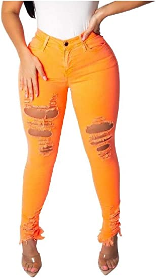 EnergyWD Womens Stylish Hipster Ripped-Holes Pure Color Sexy Skinny Jeans
