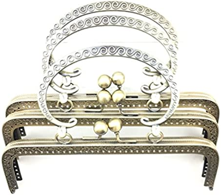 EXCEART 8.5cm Purse Frames Iron Curved Handbag Clasps Coin Bag Hand DIY Locks