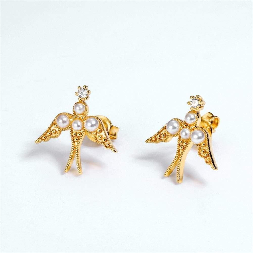 Nanna Pendientes de Perlas Corea del Sur Japón y 925 Pendientes de Plata esterlina Femenina Temperamento Retro del Trago de oído de la joyería de diseño Original Pendientes de Aro para Mujer