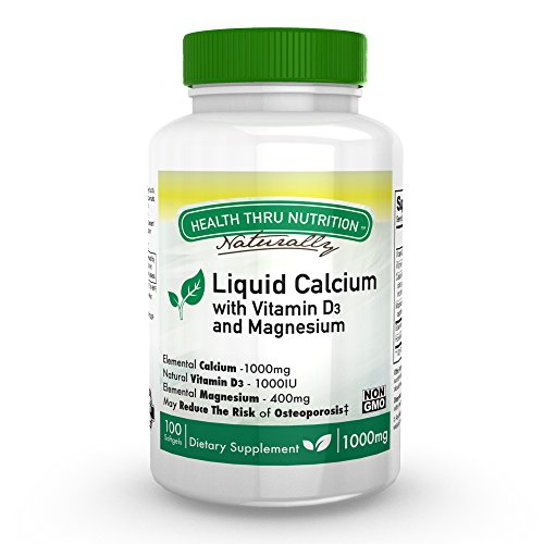 (Liquid Calcium and Magnesium with 1000 IU D3, Vitamin K, Non-GMO, Soy-Free (100)