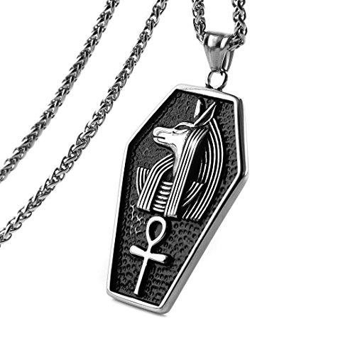 HZMAN Men's Stainless Steel Ancient Egyptian Pharaoh Coptic Ankh Cross Religious Pendant Necklace ()