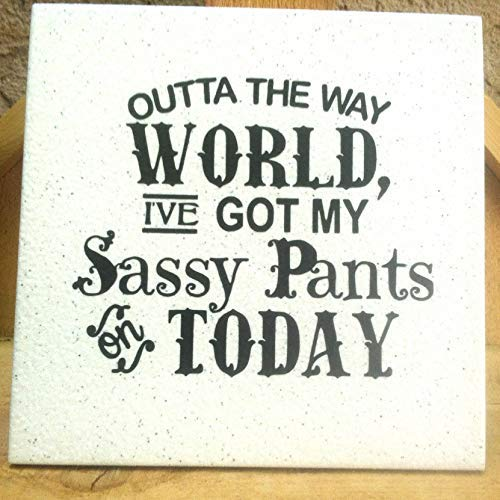 - weewen Sassy Pants Funny Quote Plaque On Tile Saying with Easel Back Cabin Wall Decor Plaques Sign Home Sign