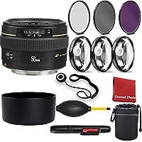 Canon EF 50mm f/1.4 USM Standard Lens for Canon SLR Cameras with 3 Peice Filter Kit, Lens Hood, Blower, Lens Pen, Case, Cap Keeper, 3 Piece Macro Closeup Kit