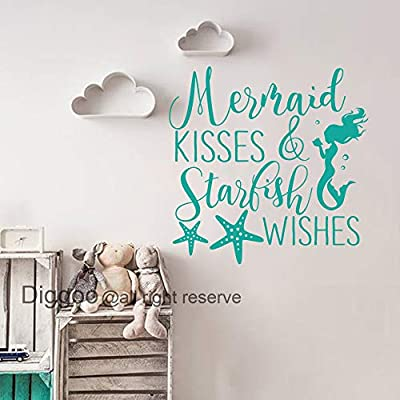 Mermaid Kisses and Starfish Wishes Wall Decal Quote Mermaid Wall Decal Nautical Nursery Decor Girls Bedroom Decals (Teal,28