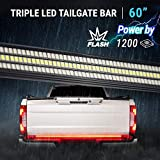 60' TRIPLE 1200 LED Tailgate Light Bar Strobe Flashing Brake +Sequential Amber Turn Signal - 1,200 LED Solid Beam - Weatherproof No Drill Install - Full Function Reverse Brake Running 2yr Warranty