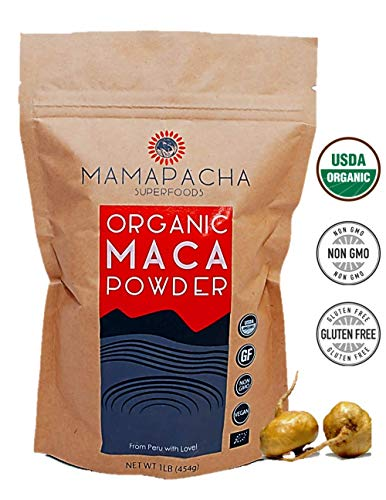 Maca Powder Organic Raw 1LB (454g) - 100% USDA Certified Premium Peruvian Yellow Maca Root Powder. Natural Vegan Supplement. Supports hormonal, gut and immune health - Perfect for Smoothies and Baking