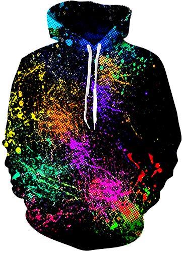 Leapparel Unisex Pullover Adult Hoodies Lightweight Simple Sweatshirt with Splashing Ink Pattern,Black Graphic Hoodies