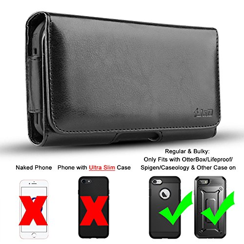 iPhone 8 Holster, iPhone 7 Holster, J&D PU Leather Holster Pouch Case with Belt Clip, Leather ID Wallet Case for Apple iPhone 8 / iPhone 7 (Only Fits with OtterBox/Lifeproof/Spigen/Other Thick Cases)