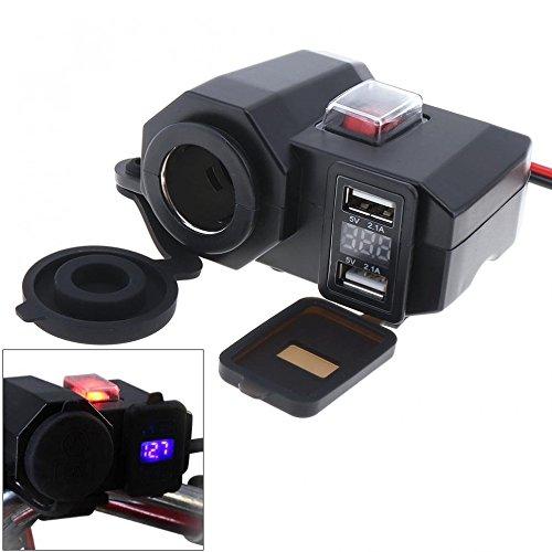 Ocamo 3 en 1 Doble Adaptador USB Impermeable Cargador de Motocicleta Soporte de instalación Encendedor de Cigarrillos con...