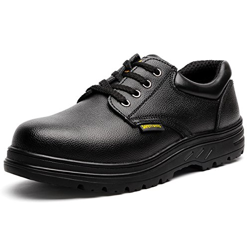 Slip Resistant Uniform - JACKBAGGIO Men's Steel Toe Slip Resistant Uniform Work Shoes (8.5)