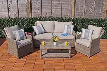Classic Casamore Corfu Lounge Sofa Set For Gardens In Rattan Weave   Low  Maintenance Garden Furniture