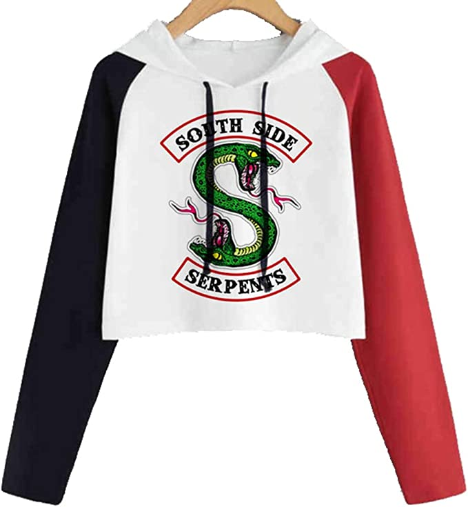 LYLXS Riverdale imprimé Serpent Motif de South Side Pull à Capuche Haut Court Mode Sport pour Femme Fille