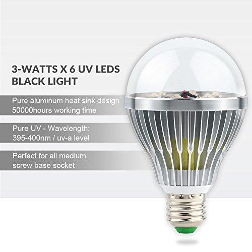 LaluceNatz 18W Black Lights Bulbs with 6 UV LED Bulb UV Spotlight E27 by LaluceNatz (Image #3)