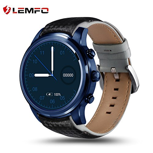 LEMFO LEM5 Pro Smart Watch 1.39 inch 3g Smartwatch Phone MTK6580 Quad Core 2GB 16GB Android 5.1 GPS WiFi Bluetooth IP55 Life Waterproof - Blue by LEMFO