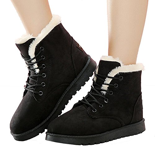 Women Ankle Short Martin Boots Leather Suede Plush Flat Heel Winter Warm Casual Shoelace Snow Cotton Shoes 40 wdIzs