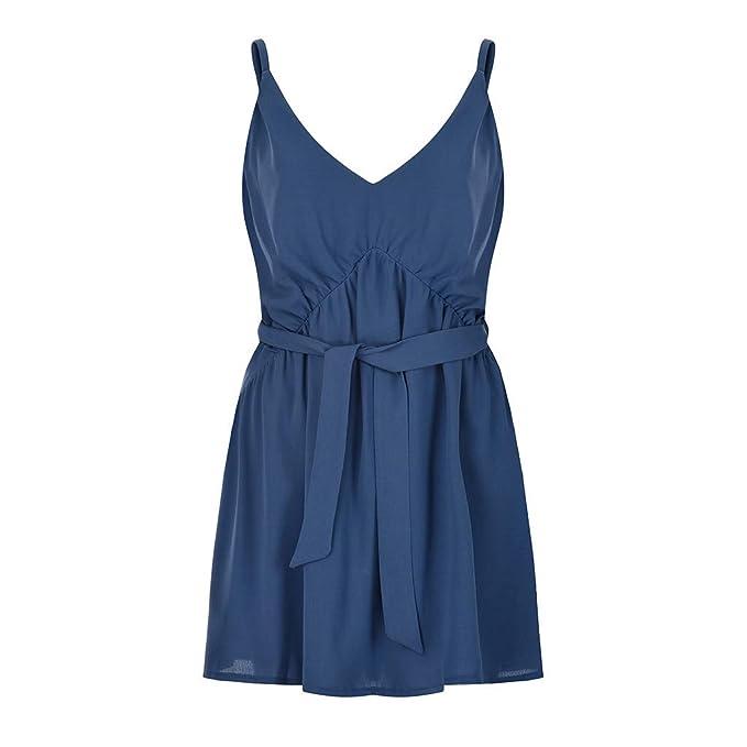 fcdab501e612 JIANGfu Abito Donna a Benda,Gonna A Trapezio Senza Maniche V Collo a Fionda  Vestito Tinta Unita: Amazon.it: Abbigliamento