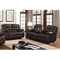 U.S. Livings Polyurethane Leather Reclining Sofa Set, with Drop Down Table (2-Piece, Dark Brown)