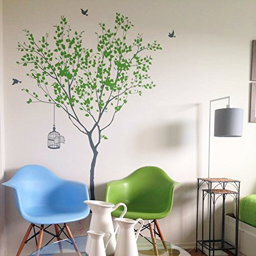 (Spring Tree with Bridcage (Grey and Lime Tree Green) - Beautiful Tree Wall Decals for Kids Rooms Teen Girls Boys Wallpaper Murals Sticker Wall Stickers Nursery Decor Nursery Decals)