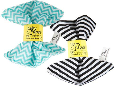 Baby Paper - 2 Pack of Crinkly, Sensory Toys, Black & White Stripe, Turquoise Zig Zag
