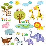 Decowall DW-1508 Patched Jungle Peel and Stick Nursery Kids Wall Decals Stickers