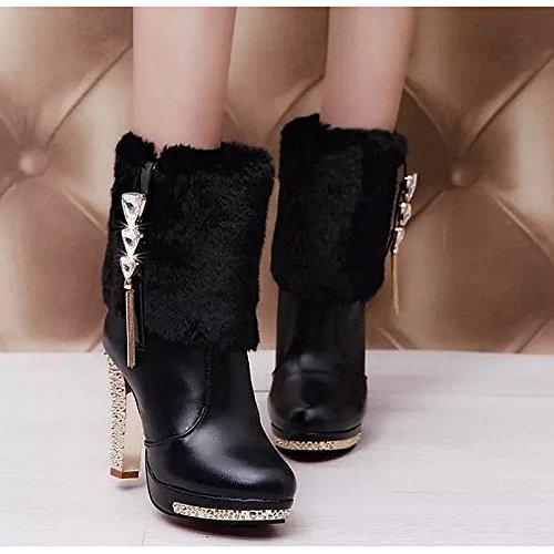 y primavera mujer otoño comodidad blanco casual botas negro para Zapatos Chunky PU de Botines Fashion Black talón botas botines Sxqwqpa5t
