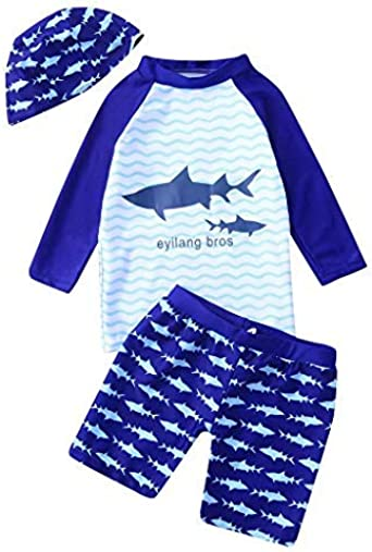 Amaone Boy Swimming Costume with Shorts Print Boardshort Swimwear Swim Trunks Age 2-7 Years Old for Summer Holiday Beach Wear
