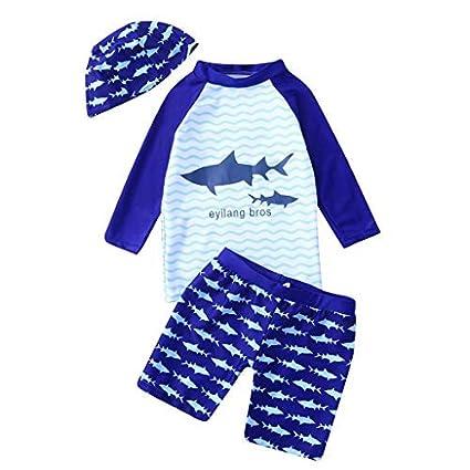 Zerototens Swimwear for Boys Tankini Sets Kids Long Sleeve Cartoon Shark Top+Wave Shorts+Hat 3Pcs Swimsuit Sets Summer Swimming Costumes 1-10 Years Old