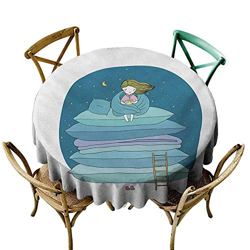 Decorative Textured Fabric Tablecloth Kids Little Girl Sitting on the Top of a Pile of Pillows Drinking Milk Night Bedtime Waterproof/Oil-Proof/Spill-Proof Tabletop Protector D55