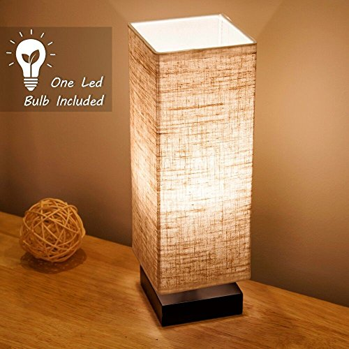 Lifeholder Bedside Table lamp with Warm White LED Bulb, Minimalist Nightstand Table Lamps, Bedside Desk Lamp with Fabric Shade for Bedroom Living Room Kids Room College Dorm Office