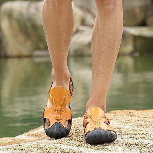 Leder Sandalen Tragen Casual Zwei Gelb Sandalen Männer Bergsteigen Atmungsaktiv Hausschuhe Fahr Mode Schuhe ZHANGM Sommer Sandalen Schweißabsorbierend Outdoor Trekking rwSr0xqf