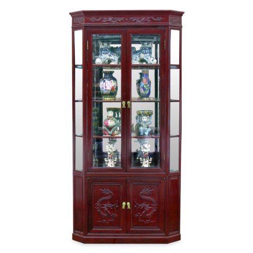 - China Furniture Online Rosewood China Cabinet, 27 Inches Hand Carved Dragon Design Corner Display Cabinet in Dark Cherry Finish