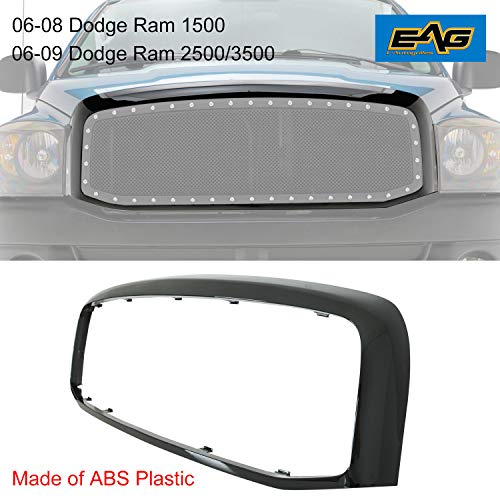 EAG Black ABS Plastic Grille Shell Fit for 06-08 Dodge Ram 1500/06-09 Dodge Ram 2500/3500