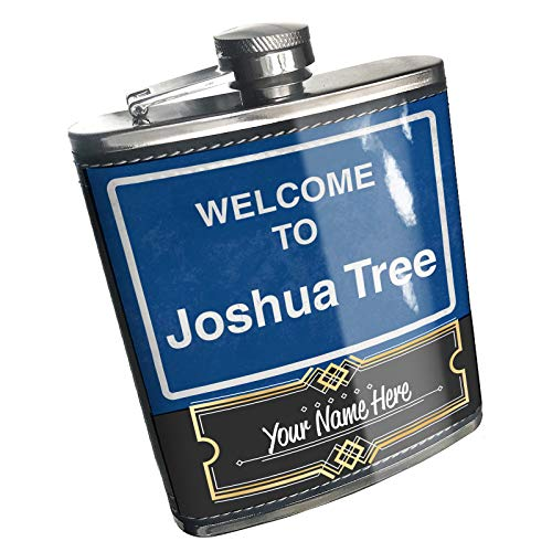 Neonblond Flask Sign Welcome To Joshua Tree Custom Name Stainless Steel