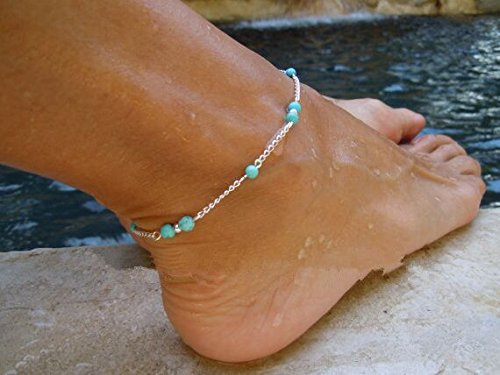1pc Unique Nice Turquoise Beads Silver Chain Anklet Ankle Bracelet Foot Jewelry