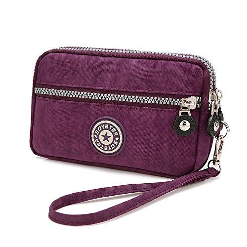 MISOFE Three Layers Zipper Purse Waterproof Nylon Wristlet Bag Clutch Handbag Cell Phone Pouch (Purple)