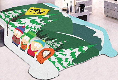OFFICIAL South Park ORIGINAL Warm Fleece Throw Wall Hanging Tapestry Blanket with Stan, Kyle, Cartman and - South Store Map Park