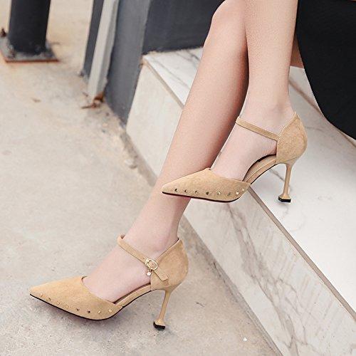 zapatos un color beige 9 con cat hollow 38 de fino con zapatos de ranurada cm señaló Matt zapatos correa con tacón qw6545