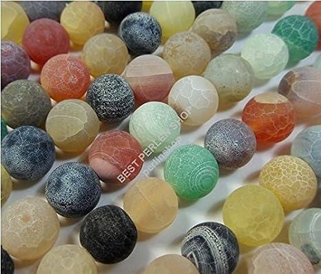 Perlas Piedra Natural 18stk Ágata Mate Piedras Preciosas 6mm Mix Colores Bola BPS R85