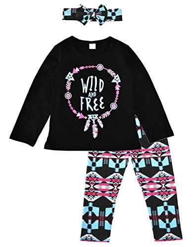 Little Girls 3Pcs Set Long Sleeve Shirts Tops + Floral Pants Set + Headband Outfit Clothes 3T/2-3Years Black