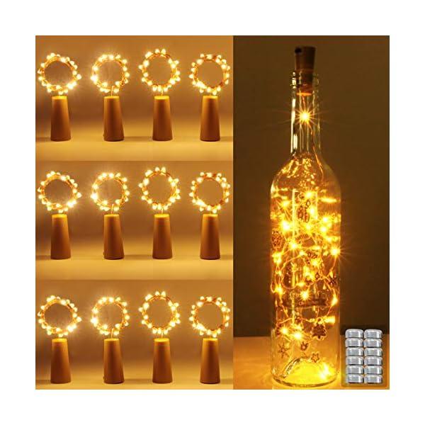 (12 pezzi) Luci per Bottiglia, kolpop Tappi LED a Batteria per Bottiglie, Filo di Rame Led Decorative Stringa Luci da Interni e Esterni per Festa, Giardino, Natalizie, Matrimonio (Bianco Caldo) 1 spesavip