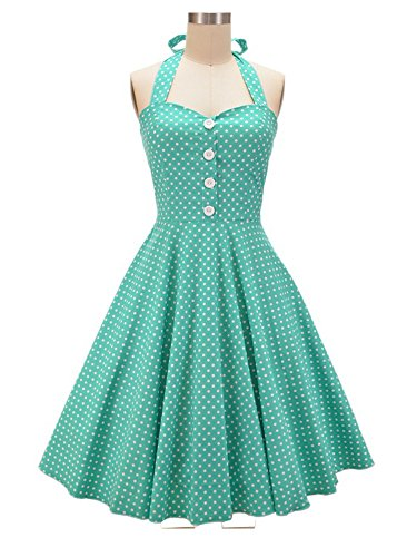 50s Halter Dress (HongyuTing Women's 50s 60s Vintage Retro Swing Rockabilly Picnic Party Dress)