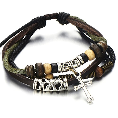 COOLSTEELANDBEYOND Tribal Cross Multi-strand Brown Leather Bracelet for Men Women Leather Wristband Wrap Bracelet