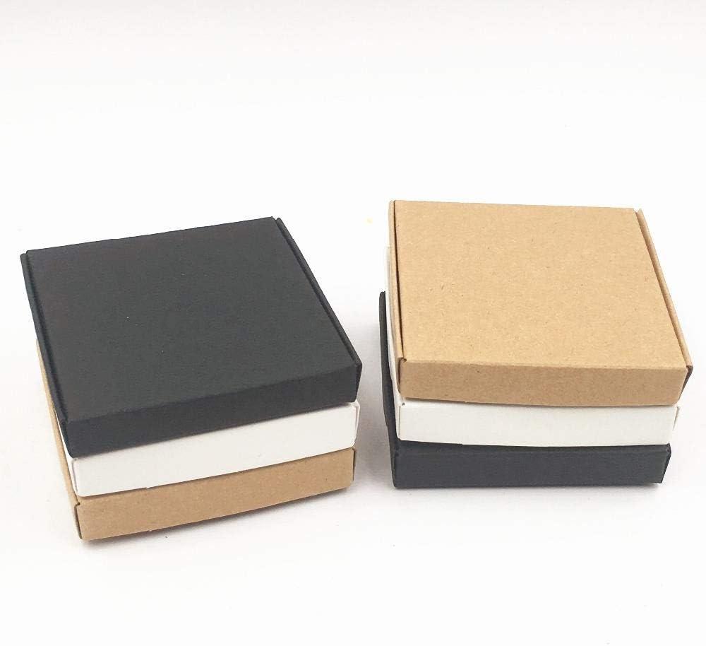 CTOBB 50 Cajas de cartón de Regalo pequeñas, Caja de Regalo de Color Blanco y Negro, Caja de cartón Kraft para cosméticos, Suministros de Embalaje, marrón, 6x6x1.5cm: Amazon.es: Hogar