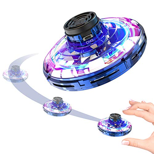 FREDI Inductive Aircraft FlyNova,Gyro Flying Toy Flying Saucers Mini Drone Helicopter with 360° Rotating and Shinning LED Lights,Blue