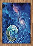 Constellation Area Rug by Ambesonne, Exo Solar Planet Painting Style Vibrant Universe Awesome Space, Flat Woven Accent Rug for Living Room Bedroom Dining Room, 5.2 x 7.5 FT, Turquoise Blue Pale Pink
