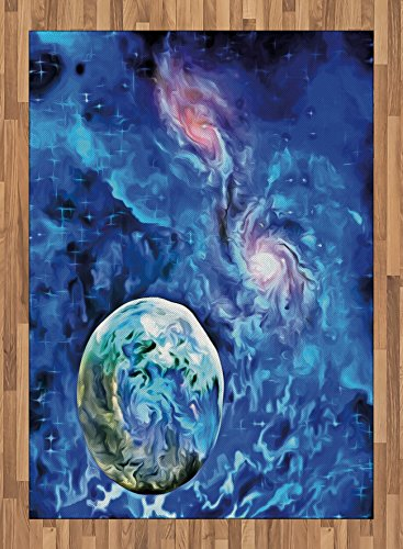 Constellation Area Rug by Ambesonne, Exo Solar Planet Painting Style Vibrant Universe Awesome Space, Flat Woven Accent Rug for Living Room Bedroom Dining Room, 5.2 x 7.5 FT, Turquoise Blue Pale Pink by Ambesonne